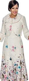 DCC - DCC1122 - Floral Printed Pleated Dress & Jacket Set With Rolled Cuffs
