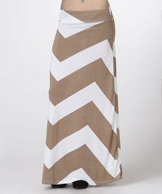 Look at this #zulilyfind! Mocha & White Chevron Maxi Skirt - Plus #zulilyfinds