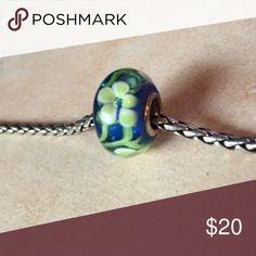 Sterling silver flower trollbead Blue and yellow flower Murano glass trollbead💛 Trollbeads Jewelry