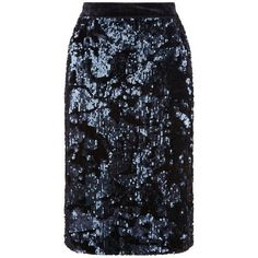 Fenn Wright Manson Universe Skirt, Navy ($130) ❤ liked on Polyvore featuring skirts, knee length skirts, sparkle skirts, pencil skirt, sequin pencil skirt and blue sequin skirt