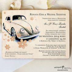 Zaproszenia ślubne drewniane Samochód Garbus