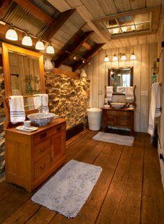 Repurposed Tobacco Barn-Honeybrook, PA - Rustic - Bathroom - Philadelphia - Lancaster County Timber Frames, Inc.