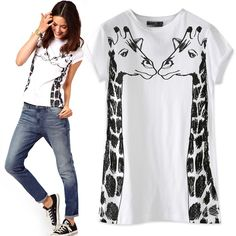 100% bavlna krátký rukáv kulatý výstřih svetr Cartoon Malování Giraffe Cami T-Shirt