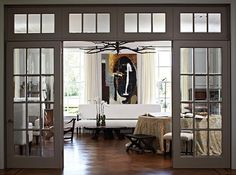 Glass French Doors Like windows, doors are a key part of any wall's composition. Here, beautiful French doors separate the living room from a large foyer, Double Doors Interior, Door Design Interior, Interior Windows, Home Interior, Interior Glass Doors, Interior Concept, Interior Ideas, Interior Architecture, Design Salon