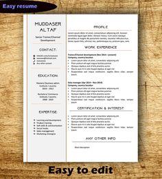 Easy Resume Template Cover Letter Word A4 CV by impressiveresume