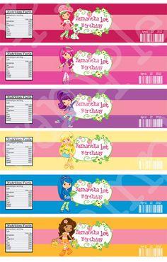 Personalized Strawberry Shortcake Birthday Party Water Bottle Label 2 1000 Via Etsy