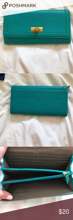 J. Crew wallet 100% leather. Beautiful teal color with gold hardware. J. Crew Bags Wallets