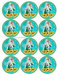 Frozen Fever Cupcake Topper Label Sticker Birthday