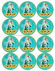 Frozen Fever Cupcake Topper Label Sticker Birthday