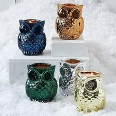 Metallic Owl Candles  $14.00