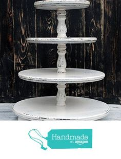 4-tiered White Wedding Shabby Cupcake Stand, Wedding cake stand, wooden cake pedestal, wooden cupcake stand, large cupcake stand,wedding cake stand, rustic cake stand from WoodhomeAB https://www.amazon.com/dp/B01H459D0G/ref=hnd_sw_r_pi_dp_7ZPzxbBFASXV9 #handmadeatamazon