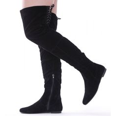 Womens Ladies Over The Knee High Flat Long Faux Suede Thigh Boots Size Knee Boots, Shoes, Black, Fashion, Moda, Zapatos, Shoes Outlet, Black People, Fashion Styles