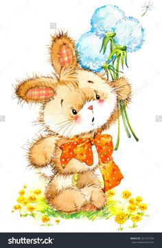 Find Bunny Dandelion Celebrate Festival Watercolor stock images in HD and millions of other royalty-free stock photos, illustrations and vectors in the Shutterstock collection. Cute Animal Illustration, Watercolor Illustration, Watercolor Art, Bunny Art, Cute Bunny, Birthday Card Drawing, Kids Background, Valentine Images, Bear Cartoon