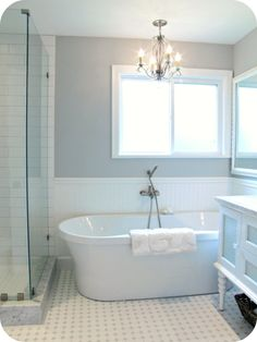 My House Of Giggles: White And Grey Bathroom Renovation/Makeover (Carrera  Marble, Hex Tile, Etc) Freestanding Tub