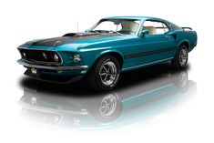 Gulfstream Aqua 1969 Ford Mustang Mach 1 | RK Motors Charlotte | Collector and Classic Cars