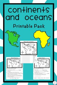 {FREE} Continents and Oceans Printable Pack - Simple Living. Creative Learning -- plus a list of books to use Continents Activities, Geography Activities, Ocean Activities, Teaching Geography, Geography Lessons, Social Studies Worksheets, Social Studies Activities, Teaching Social Studies, Continents And Countries
