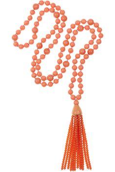 Kenneth Jay Lane|orange tasseled beaded necklace