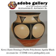 Kewa ( Santo Domingo) Pueblo Polychrome Aguilar Black-on-cream Jar - C3298B #adobegallery #SouthwestIndianPottery #KewaPueblo #SantoDomingoPueblo #Pottery #PuebloPottery #SantaFeNM #VisitCanyonRoad