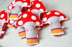 handmade fabric red mushroom rattles  - by PinkNounou