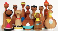 Wonderful hand-painted wooden dolls by Lorena Siminovich Wooden Art, Wooden Crafts, Diy And Crafts, Craft Activities For Kids, Crafts For Kids, Wooden People, Diy Holz, Kids Wood, Kokeshi Dolls