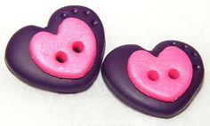 Simple, yet cute: PURPLE HEART Polymer Clay BUTTONS by @KatersAcres
