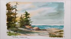 A quick and fun Watercolor demonstration of a Lake Shoreline painting. E...