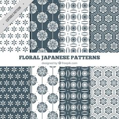 Japanese floral black and white patterns Free Vector