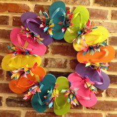 Flip Flop Wreath on a wire form - like these colors and ribbons Wreath Crafts, Diy Wreath, Mesh Wreaths, Holiday Wreaths, Holiday Crafts, Wreath Ideas, Holiday Decor, How To Make Wreaths, Crafts To Make