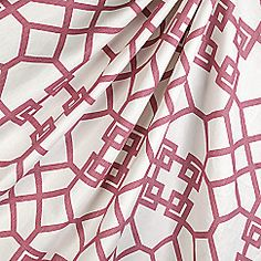 Dark pink oriental-style angular lattice on luxurious white linen. An edgier take on the classic goes-with-everything trellis. This asian pink trellis fabric is available by the yard and on most Loom custom furnishings. Grey Fabric, Floral Fabric, Linen Fabric, Dining Room Drapes, Teal And Pink, Oriental Fashion, Drapery Fabric, Chinoiserie, Trellis