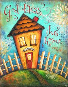 God Bless This Home PERSONALIZED Christian Wall Art Housewarming Wedding Gift 8x10 Inspirational Mixed-Media Art Print