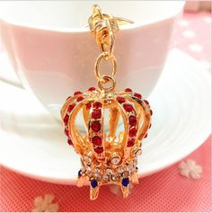Hot Sale Creative Women Purse Bag Jewelry New Arrival Hollow Crown Gold Plated Crystal Keychains Charm Novelty Items(China (Mainland))