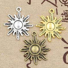 99 Cents 5 pz Charms sole 28*24mm Hollow fascini Antichi, adatti del pendente, Vintage Argento Tibetano bronzo dorato, DIY del braccialetto della collana