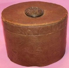 Vintage Antique Leather Floral Woman's Hat Box w Pop Up Compartment on Top Lid   eBay