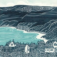 Robin Hood's Bay, Yorkshire Coast Linocut Print by Michelle Hughes Design