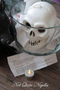 The Winking Murder Game: Start with slips of paper in a skull bowl. Each person picks one. There was one murderer and the rest of the guests were victims who had to die a certain, unique way. Once the murderer winked at them they had three minutes to die an elaborate and dramatic death. The best performance wins a prize.