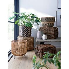 Baskets 😍 Hear us out ↓ -Neatly corral everything from firewood to throw pillows. -Add stylish storage to any room with wire, rattan and wicker. -Place your potted plants in artisanal cachepots. Plant Basket, Basket Planters, Baskets For Plants, Plant Pots, Potted Plants, Basket Weaving, Hand Weaving, Woven Baskets, Rattan
