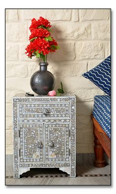 Grey Mother Of Pearl #Inlay #Bedside #Chesthttp://www.irisfurnishing