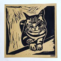 Cat Ben - linocut Art Work, My Arts, Batman, Superhero, Cats, Sketches, Fictional Characters, Animals, Gatos