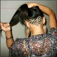 Trendy Peekaboo Shaved Design Into Long Hair-- So the 90s are back? Actually i really like it.