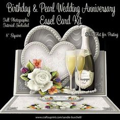 "Birthday & Pearl Wedding Anniversary 8"" x 8"" Easel Card Kit"