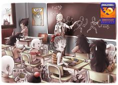 Dragon Ball gang in school. Poor Veggie is in the corner! And he looks too young. He's actually the same age as Bulma and Yamcha