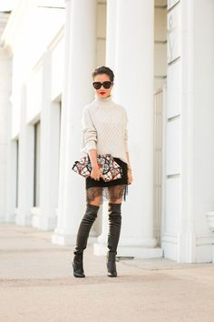 Cozy Lingerie :: Cable turtleneck & Lace skirt