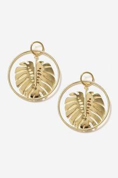 Leaf Drop Hoop Earrings