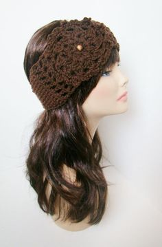 Ear Warmer with Aster flower - Brown. $18.00, via Etsy.
