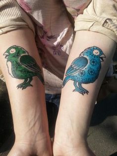 Sugar Skull Birds based on artwork by Jose Pulido. Done by Sara at Hell to Pay tattoos, Camden, UK. These are my first ever tattoos and I'm so pleased with them!