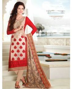 Beige suit with embroidered yoke   1. Beige embroidered georgette net suit2. Comes with matching bottom and dupatta3.Can be stitched upto size 40 inches and top length 52 inches