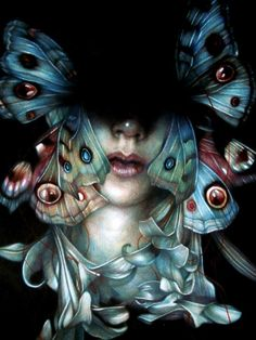 """yumfactory:  Marco Mazzoni graced the cover of Hi-Fructose Vol.20, here's his latest piece.  marcomazzoni:    A little preview of a show in Milan on february""""Beggar Banquet"""" 2011, colored pencils on paper, cm 40x30"""