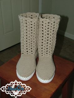 Shell Stitch Crochet Boots - betcha I can do this for a lot less than they are asking for them.