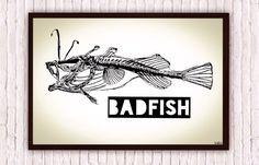Angler Fish Skeleton // Sublime Badfish // Nautical Beachy Poster Print Artwork by SargentIllustration, $30.00