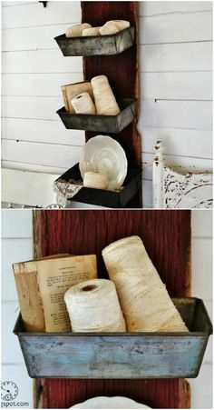 Bread tin wall bins - 50 Decorative Rustic Storage Projects For a Beautifully Organized Home
